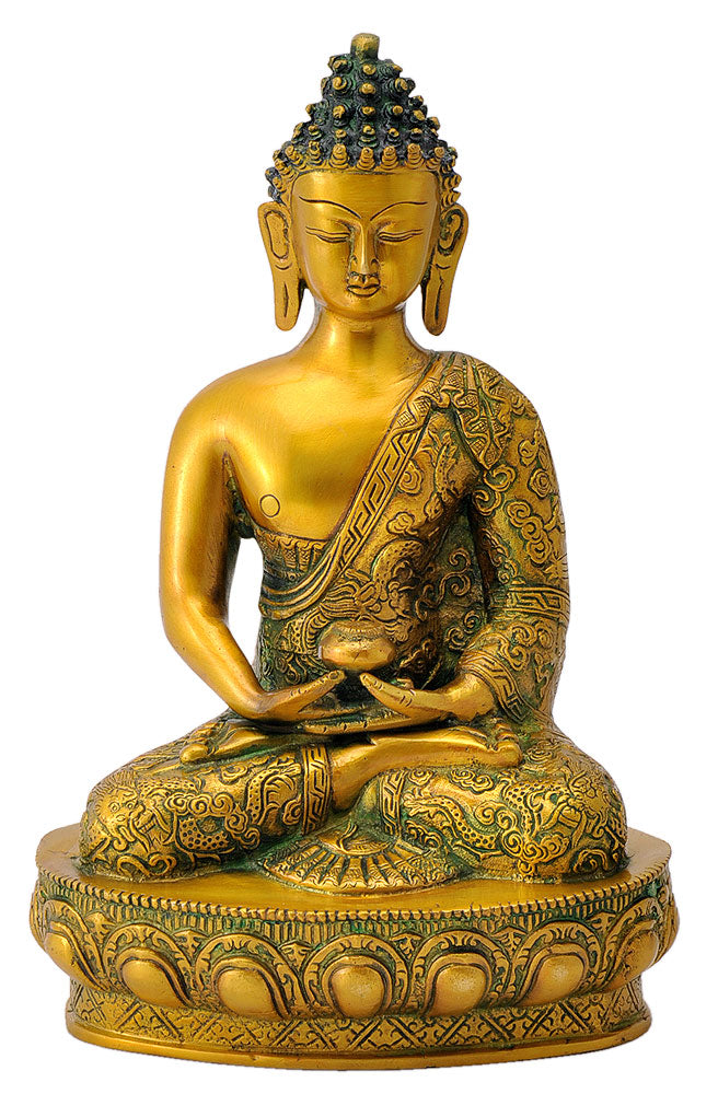 Golden Finish Statue Buddha with Carved Robe