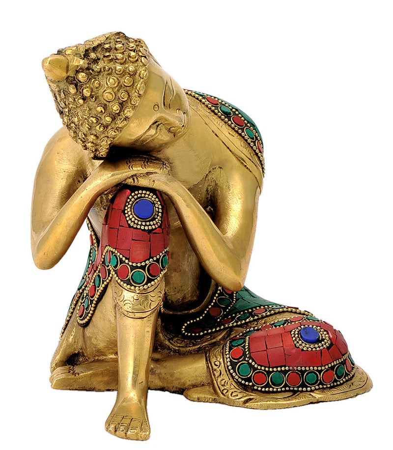 Brass Dreaming Buddha Figure with Mosaic Work