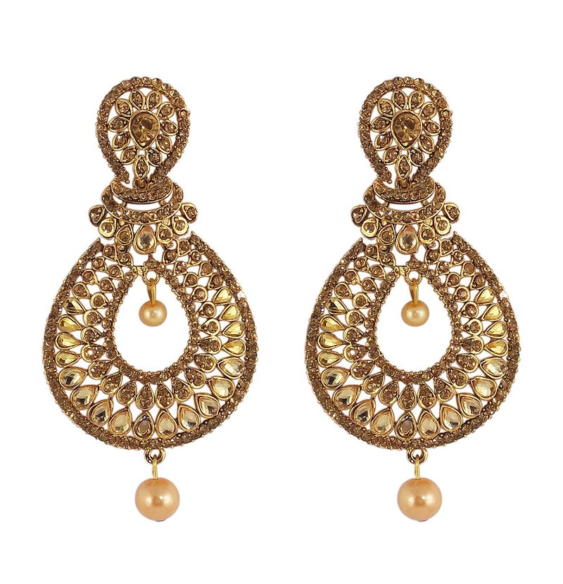 Gold Plated Crystal White Stone Studdede Wedding Earrings