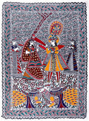 Krishna and Radha Play Holi - Madhubani Painting