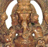 Ganesha Seated Upon His Rat - Wood Sculpture