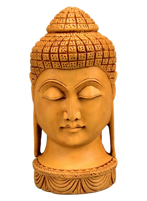 Buddha Head in Synthetic Resin 8""