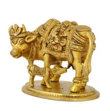 Cow with her Calf Wearing Laxmi Ganesh Carved Over Cloth