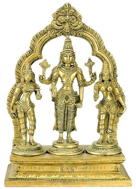 Lord Vishnu with Bhudevi and Sridevi - Brass Statue