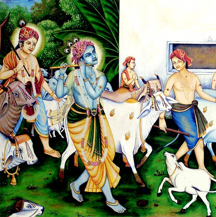The Song of Cowherd Krishna - Old Painting