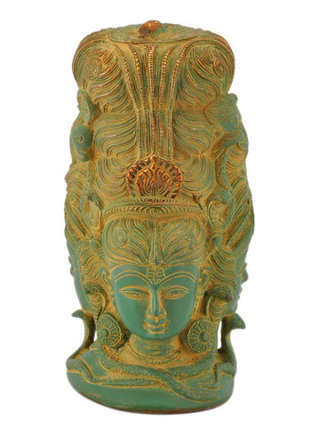 Three Headed Shiva Head with Parvati Carved on Rear Side