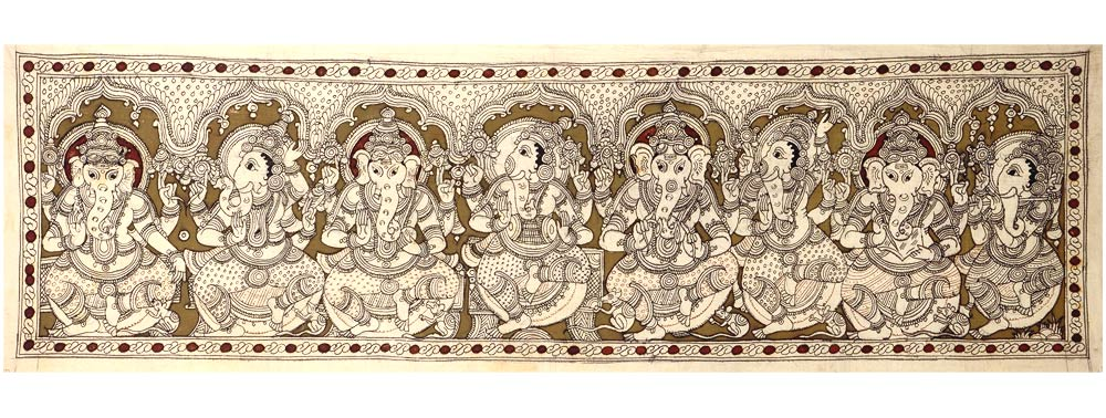 God Ganesha  In Ashta Roopa - Kalamkari Painting