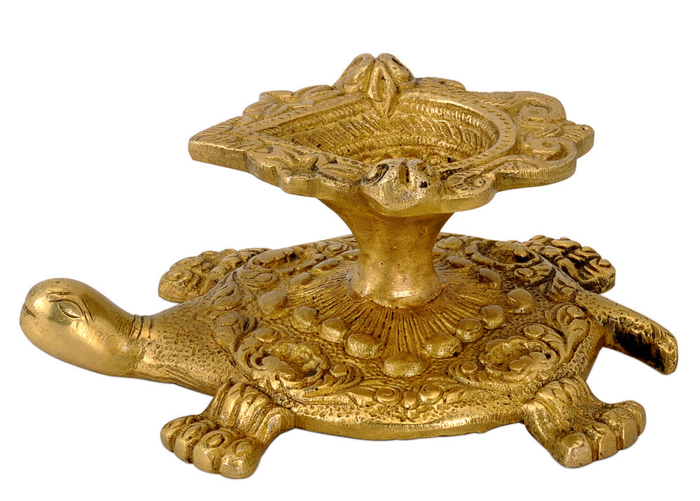 Brass Puja Diya on Tortoise