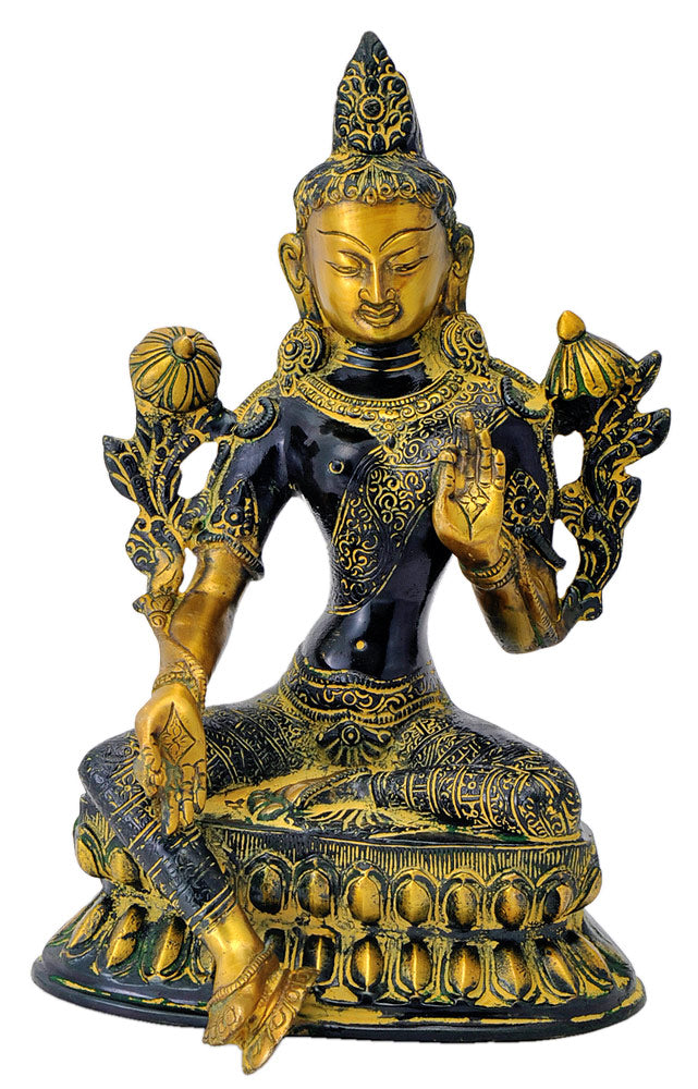 Auspicious Green Tara Antiquated Brass Statue
