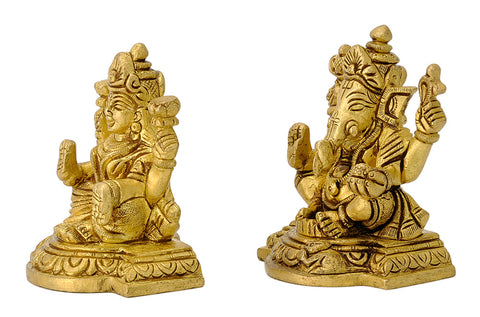 Set of Lakshmi Ganesha Brass Idols