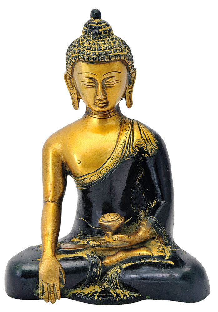Beautiful Earth Touching Buddha Brass Sculpture 7.25""