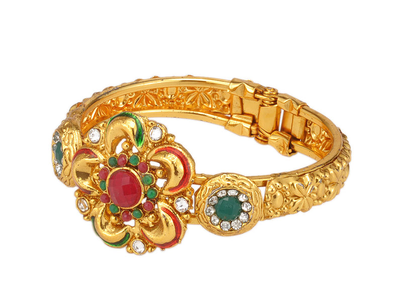Gold Plated Traditional Bangle Studded with Stones