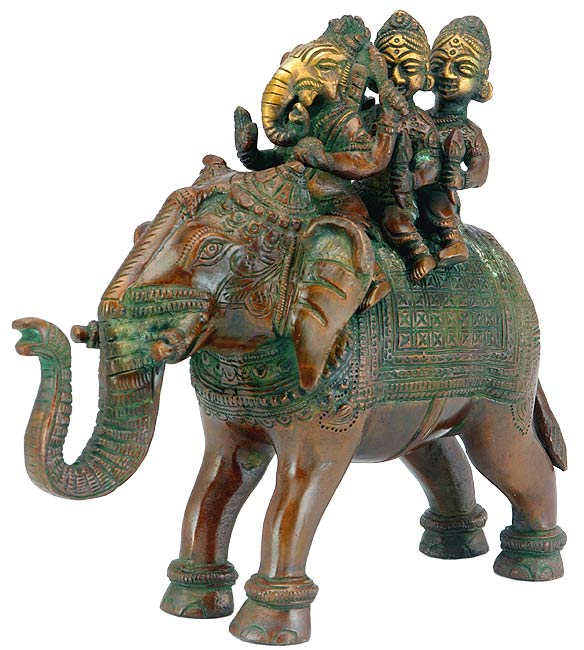 """Ganesha with Riddhi & Siddhi"" Brass Sculpture"