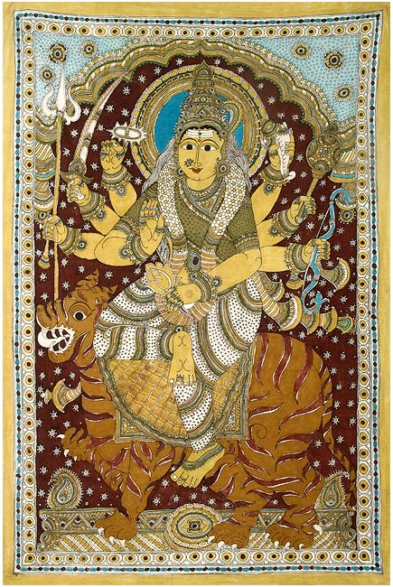 Goddess Durga - Cotton Kalamkari Painting