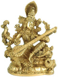 "Goddess of Wisdom ""Mata Saraswati"" Brass Sculpture"