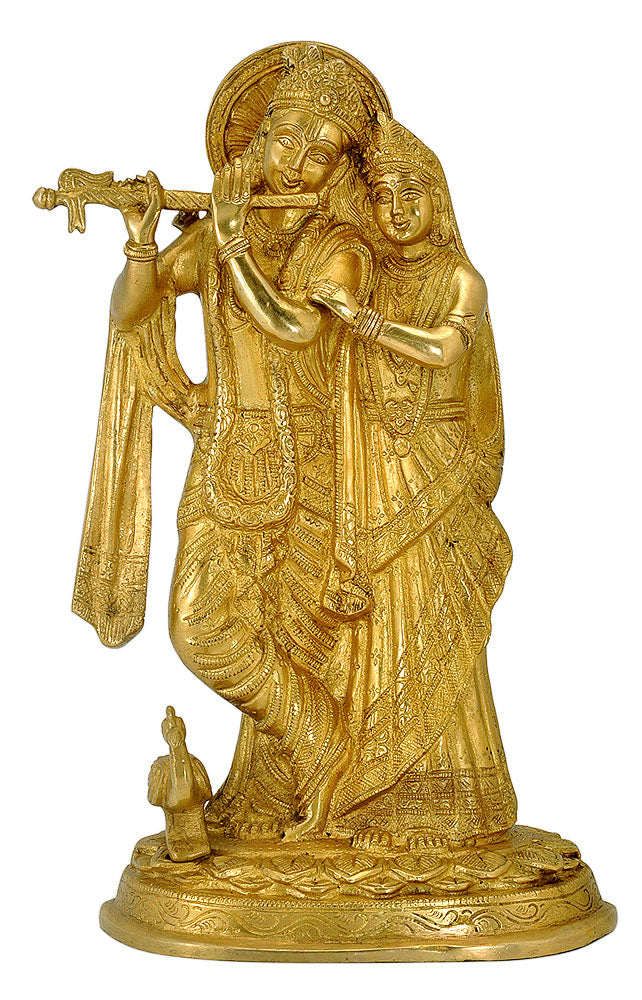 Radha Krishna Brass Statue For Temple