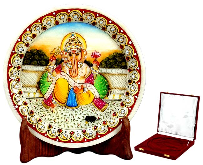 Ganesha As a Writer - Marble Painting