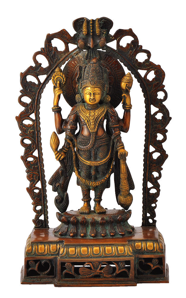 Standing Four Armed God Vishnu Brass Sculpture