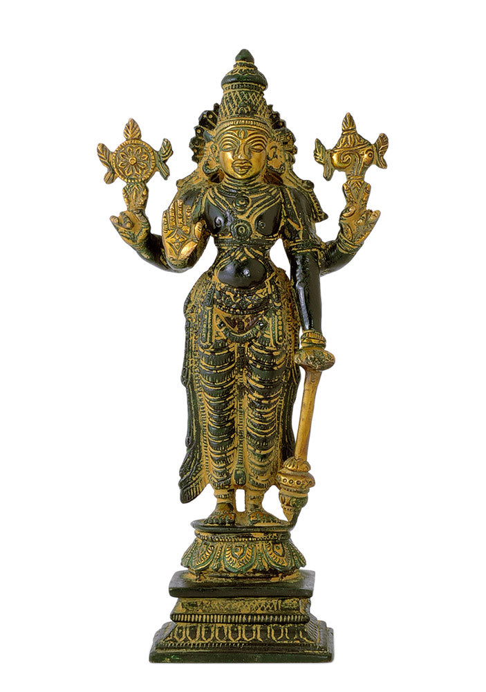 Sri Vishnu Brass Statue in Antique Finish