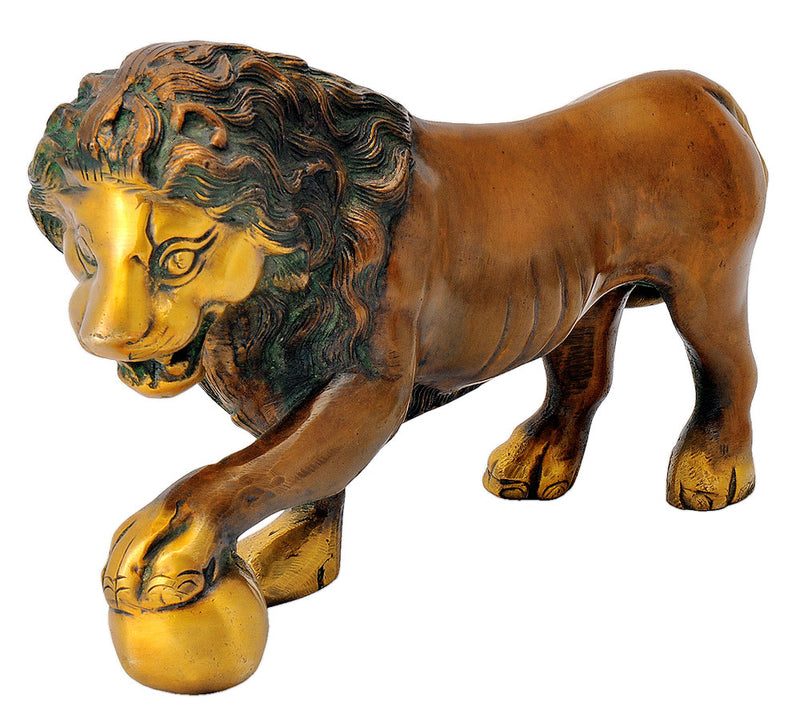 Antiquated Brass Lion Figurine