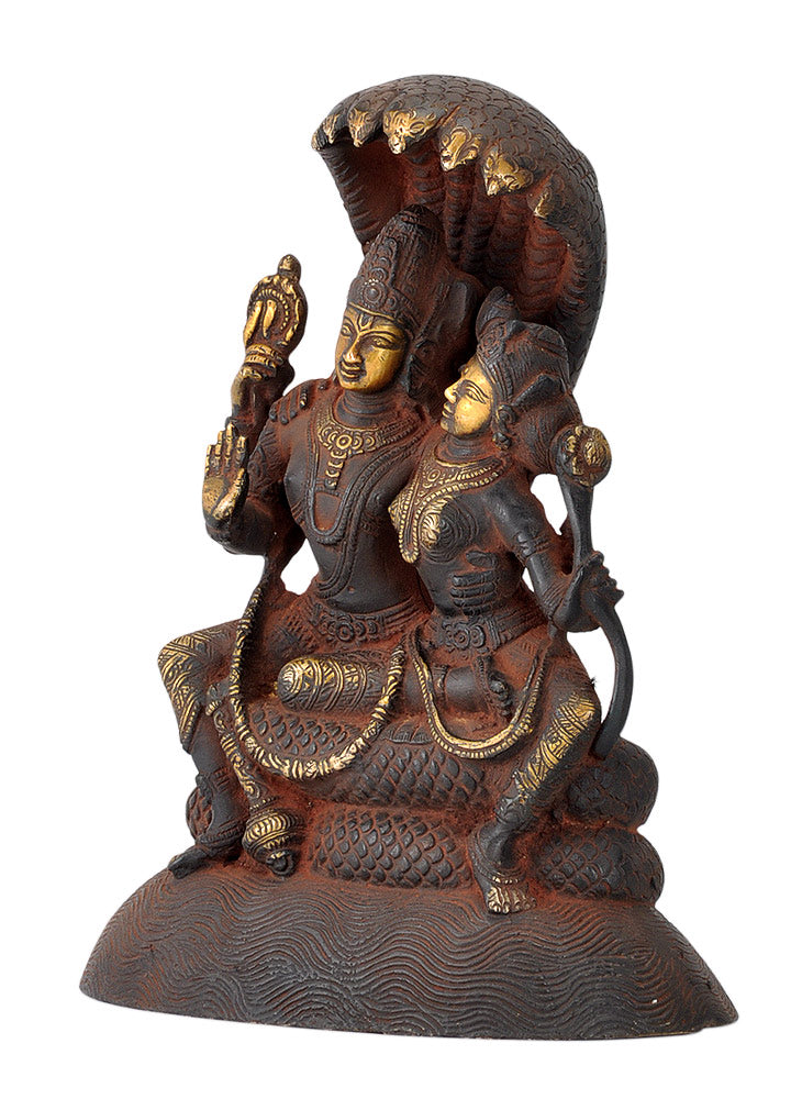 Shri Lakshmi Narayan Seated on Sheshnaag - Antique Finish Brass