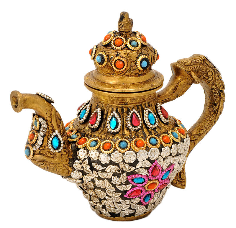 Decorative Kettle with Floral Carving & Bead Work