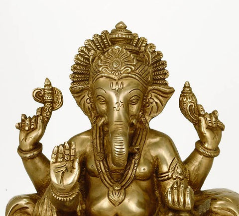Virat Ganpati on Throne - Brass Sculpture 9.50""