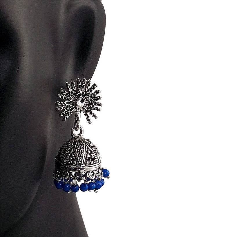 Blue Beads Peacock Beautiful Indian Style Silver Color Jhumki Earrings