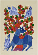 Deer and Birds - Folk Art Gond Panting