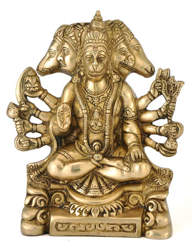 Five Headed Hanuman Ji - Brass Statue 8""