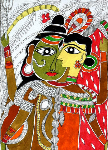 Shiva As Ardhnareshwara - Madhubani Painting