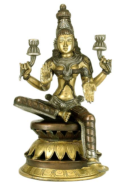 Beautiful Goddess Lakshmi - Brass Sculpture