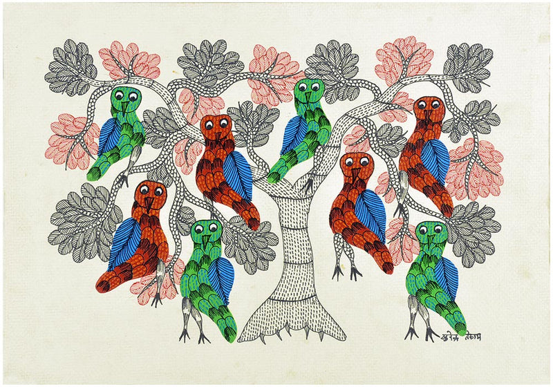 Gond Painting Colorful Owls