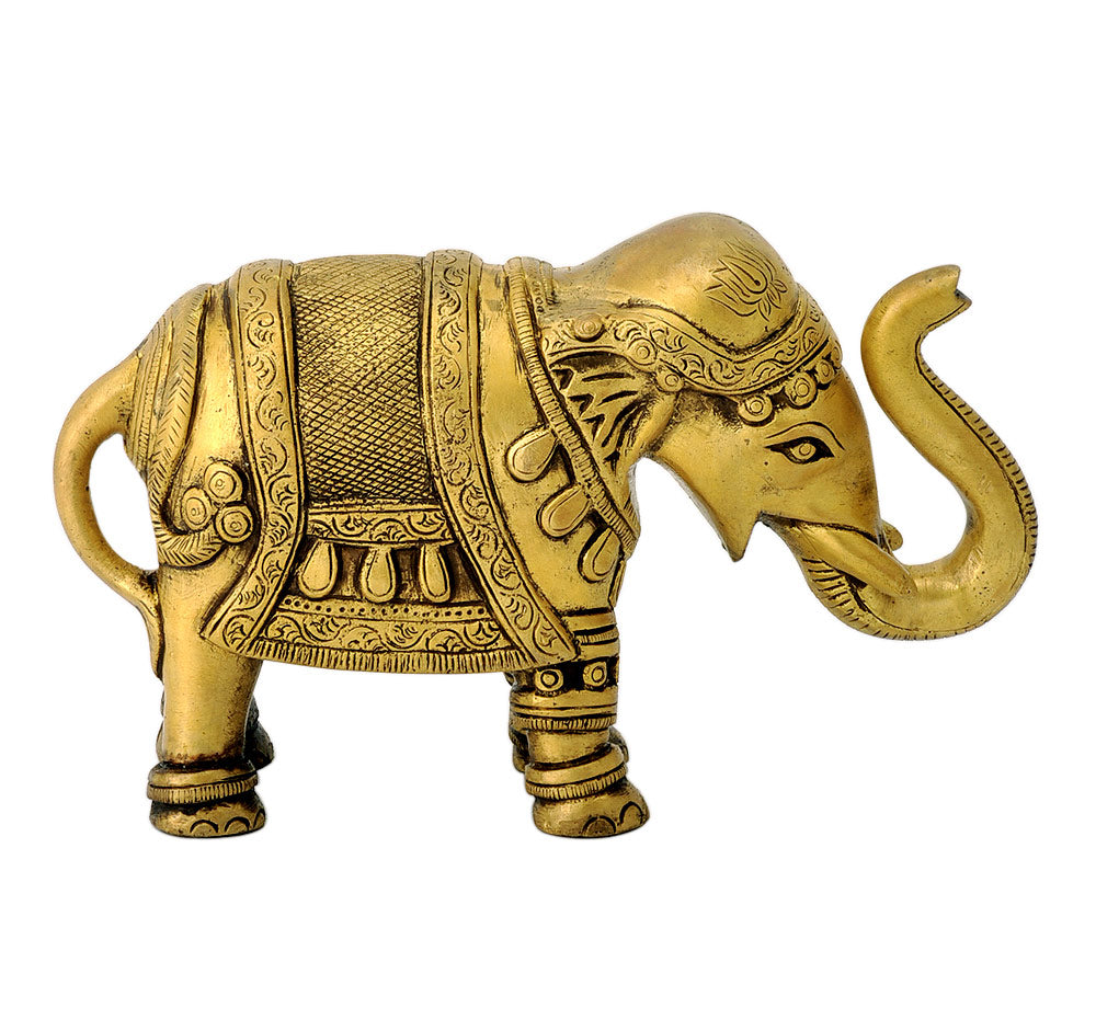 Decorative Royal Brass Elephant  with Upturned Trunk