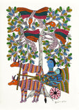 Father and Child Ride a Bullock Cart - Gond Painting