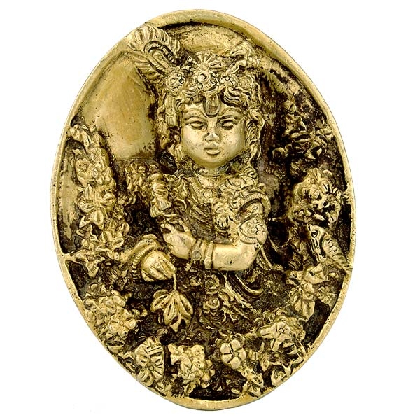 The All Attractive Lord Krishna - Brass Wall Plaque