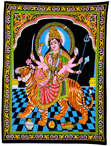Maa Durga Sherawali Cotton Painting