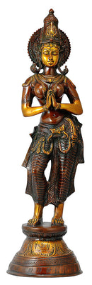 Namaste Welcome Lady Brass Sculpture