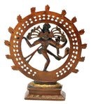 God Nataraj Brass Statue Golden Brown Finish