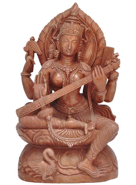 Enchanting Goddess Sarasawti - Hand Carved Statue