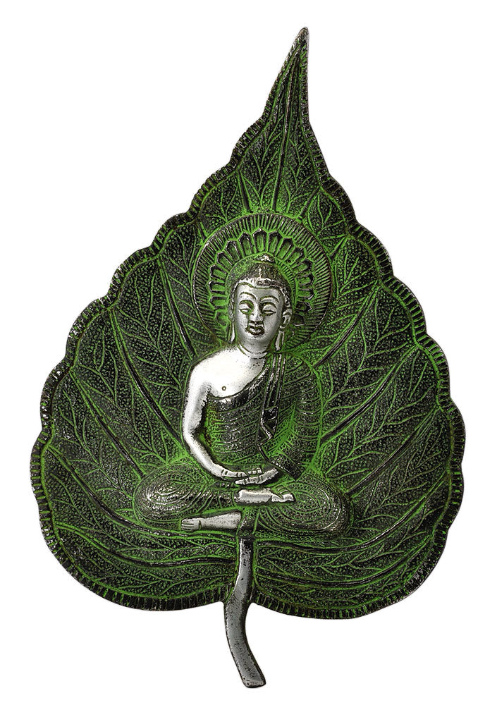 Metal Buddha Peepal Leaf Wall Hanging