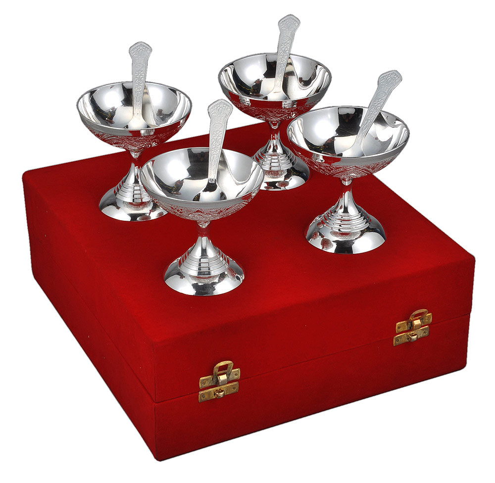 Silver Plated Ice Cream 4 Bowl Set Velvet Box Pack