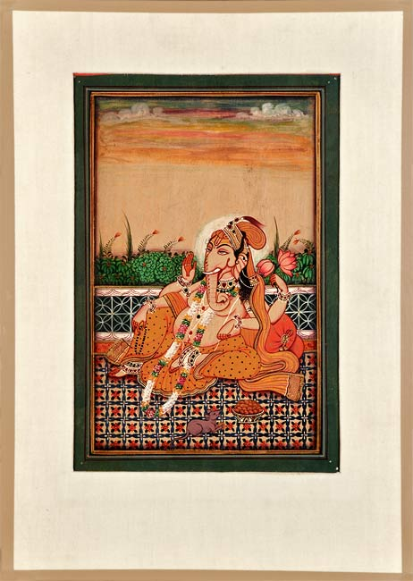 Seated Lord Ganesha - Miniature Painting 13.50""