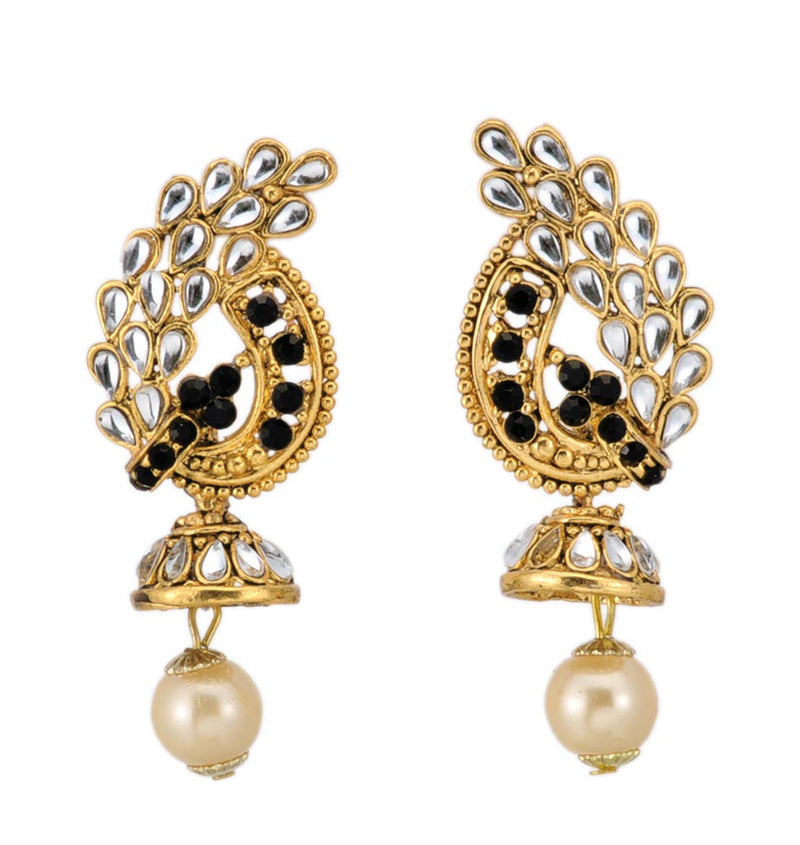 Beautiful Motif Gold Plated Dangle Earrings