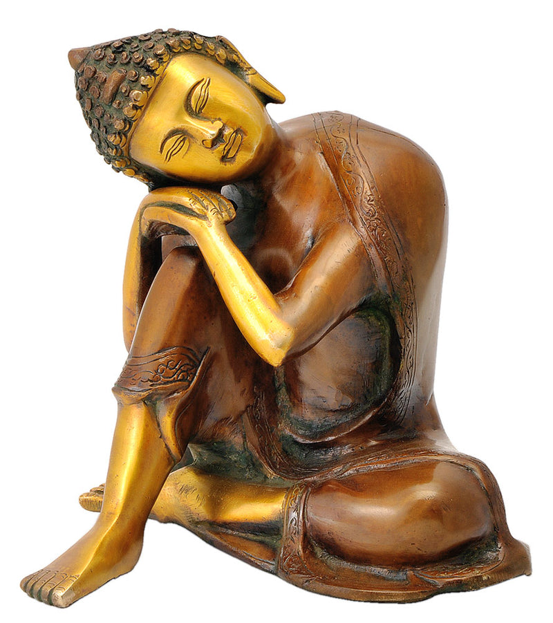 Relaxing Buddha Brass Decor Sculpture 7.50""
