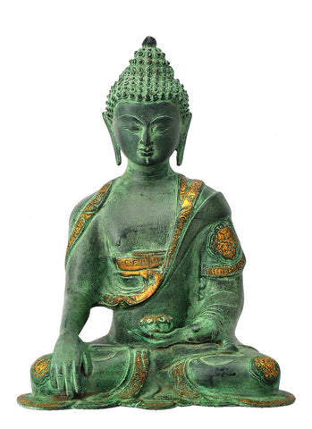 Antique Finish Brass Lord Medicine Buddha Figure 14""