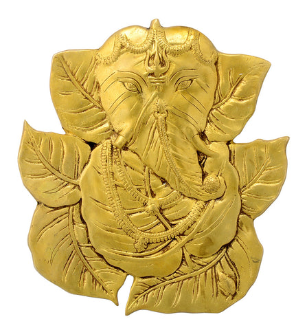 Leaf Ganesha Brass Wall Plaque