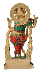 Brass Sculpture of Lord Venugopal Krishna with Inlay Work