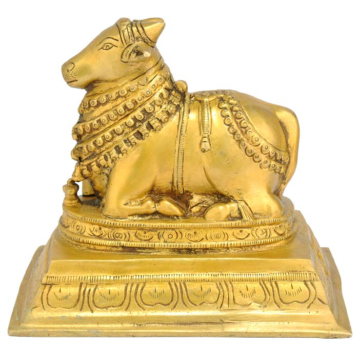 "Lord Shiva's Carrier ""Nandi Bull"" Brass Figure 6.5"""