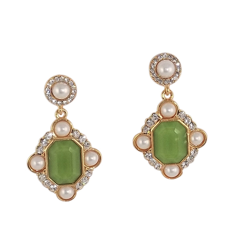 Pearl and Stone Studded Dangle Earring 'Emerald'